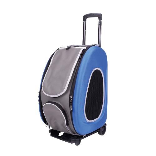 EVA - Складная сумка-тележка 3 в 1 для собак синяя (сумка, рюкзак, тележка)