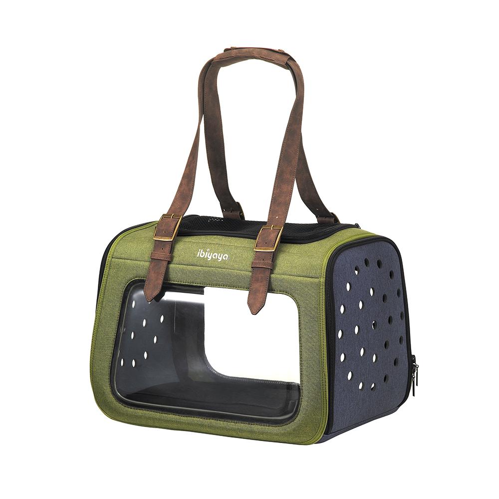 Ibiyaya Portico Mixed-fabric - Складная сумка-переноска для собак и кошек прозрачная/зеленая