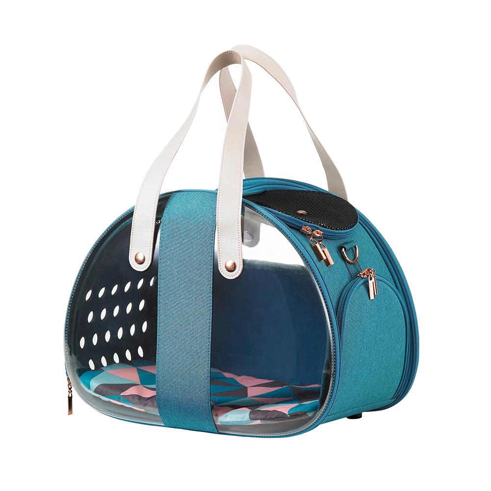 Ibiyaya The Bubble Hotel Semi-transparent - Складная сумка-переноска для собак и кошек прозрачная/бирюзовая