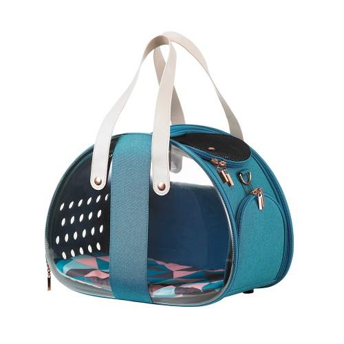 The Bubble Hotel Semi-transparent - Складная сумка-переноска для собак и кошек прозрачная/бирюзовая