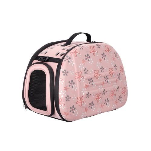 Classic Collapsible - Складная сумка-переноска для собак и кошек бледно-розовая в цветочек
