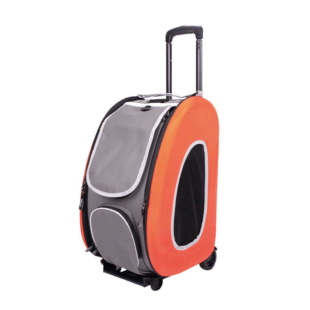 Ibiyaya EVA - Складная сумка-тележка 3 в 1 для собак оранжевая (сумка, рюкзак, тележка)