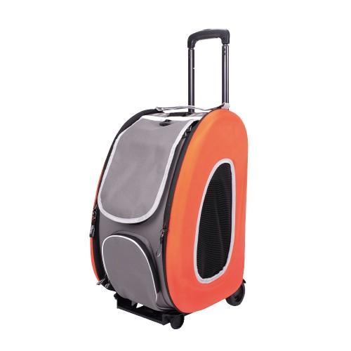 EVA - Складная сумка-тележка 3 в 1 для собак оранжевая (сумка, рюкзак, тележка)