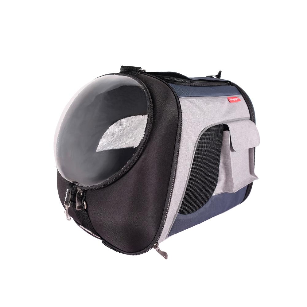 Ibiyaya Explorer Airline Transparent - Складная сумка-переноска с окном для собак и кошек сине-серая