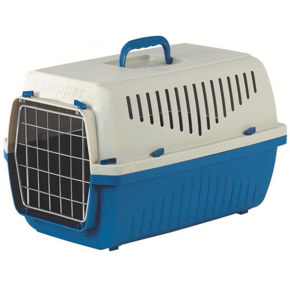 Marchioro SKIPPER - Переноска для кошек и собак с металлической дверцей сине-бежевая