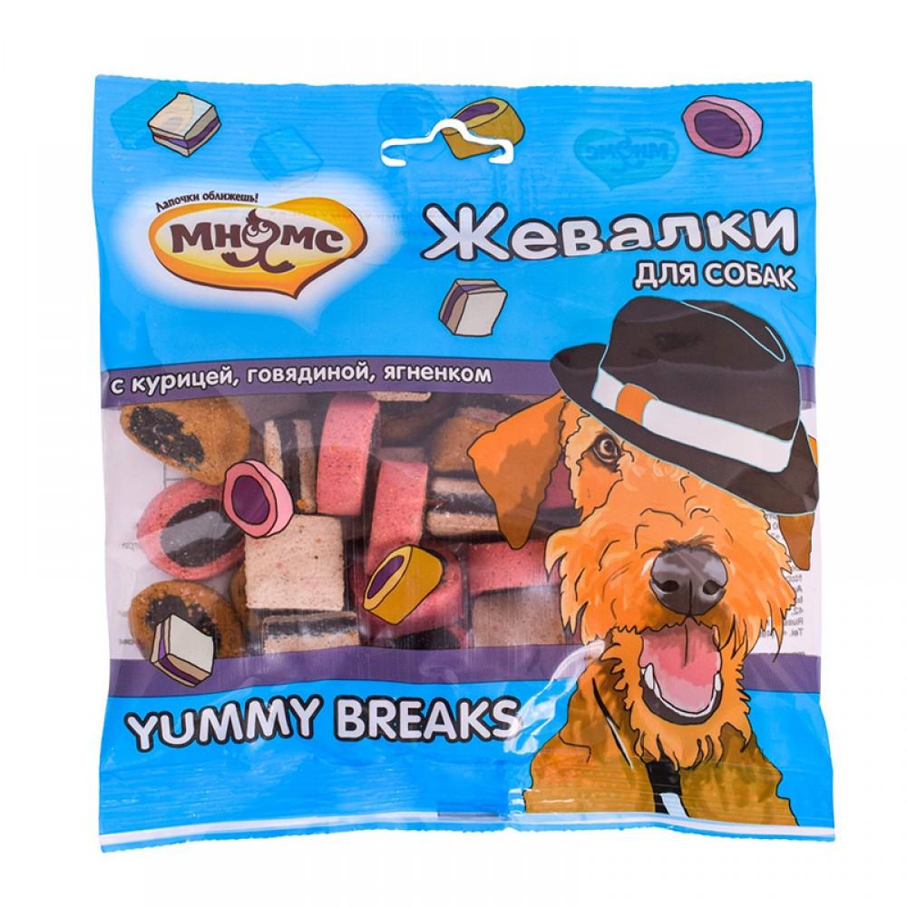 """Мнямс Лакомство для собак - """"Жевалки YUMMY BREAKS"""" с курицей, говядиной и ягненком"""