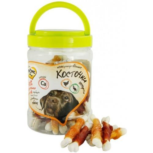 Лакомство для собак - Ассорти кальцинированные косточки с куриным и утиным мясом