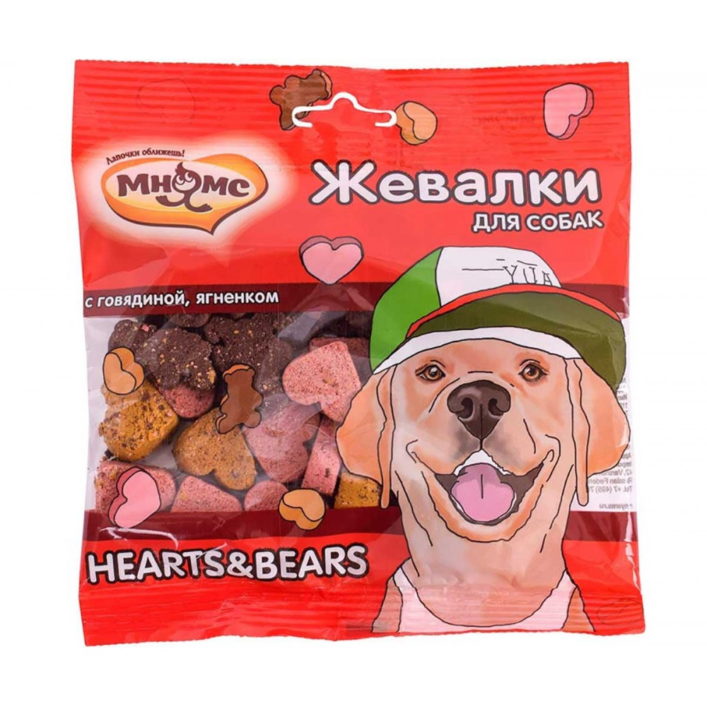"""Мнямс Лакомство для собак - """"Жевалки HEARTS&BEARS"""" с говядиной и ягненком"""