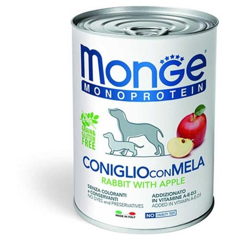 Monge Dog Monoprotein Fruits - Консервы для собак паштет из кролика с яблоком