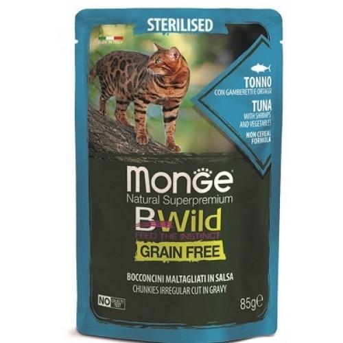 Monge Cat BWild GRAIN FREE паучи из тунца с креветками и овощами для стерилизованных кошек 85г