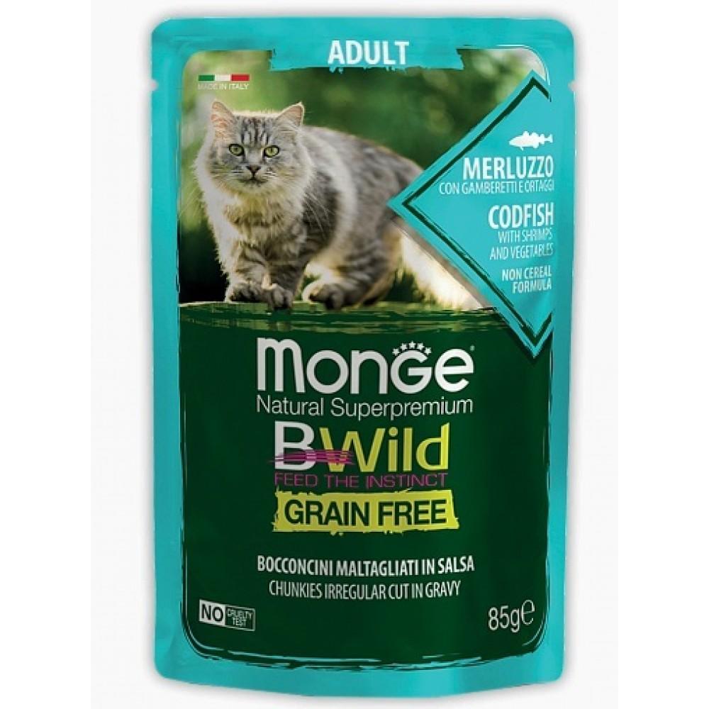 Monge Cat BWild GRAIN FREE паучи из трески с креветками и овощами для взрослых кошек 85г