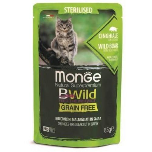 Monge Cat BWild GRAIN FREE паучи из мяса дикого кабана с овощами для стерилизованных кошек 85г