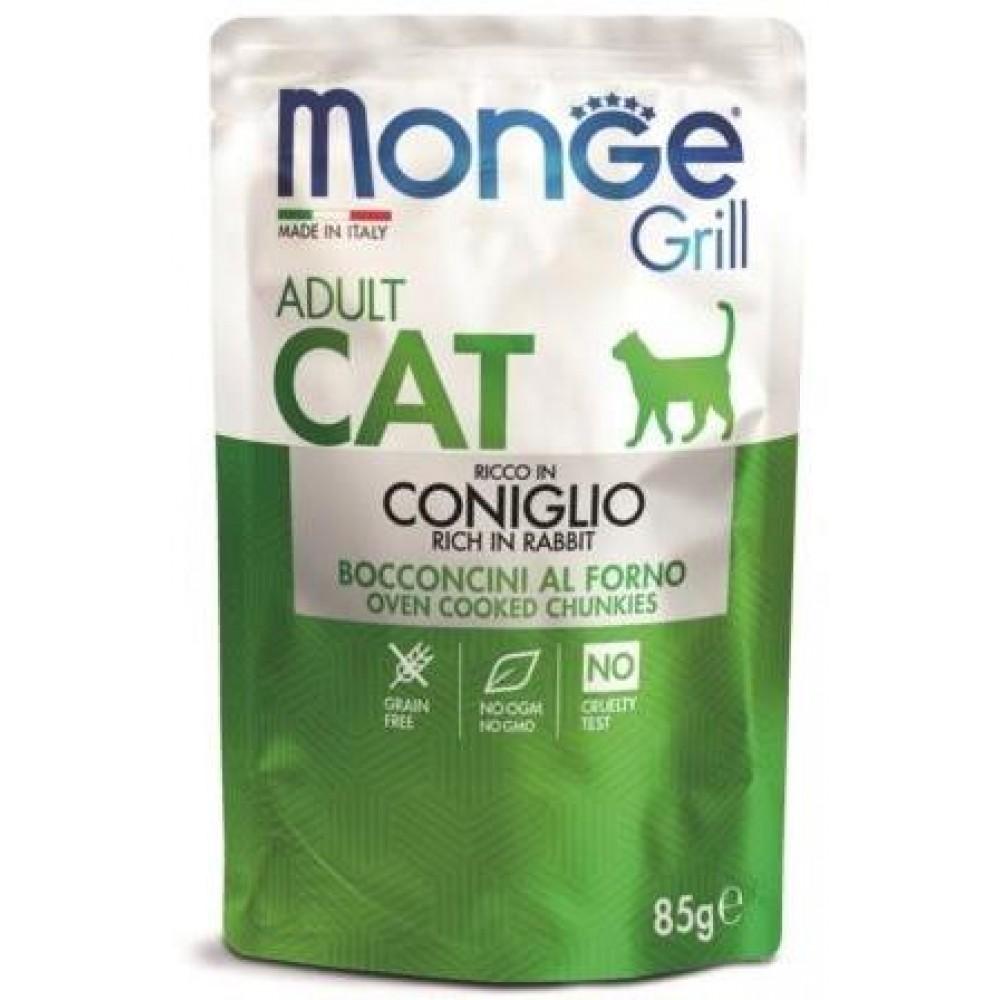 Monge Cat Grill Pouch - Паучи для взрослых кошек с итальянским кроликом