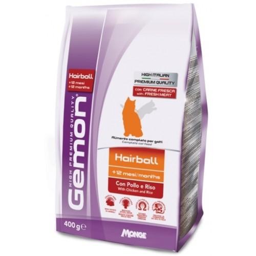 Gemon Cat Hairball - Корм для выведения шерсти для взрослых кошек с курицей и рисом