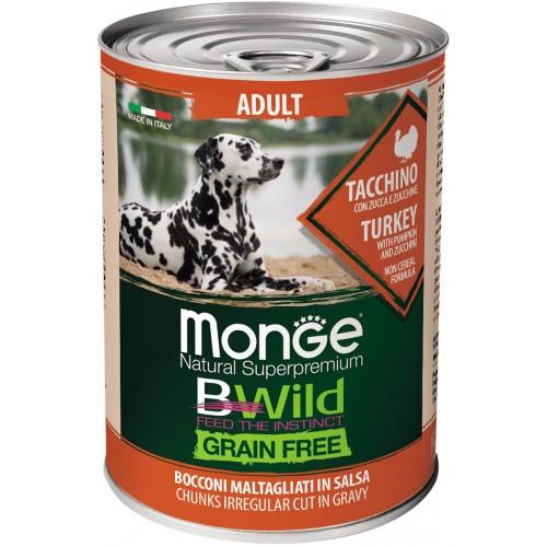 Dog BWild GRAIN FREE - Беззерновые консервы из индейки с тыквой и кабачками для взрослых собак всех пород