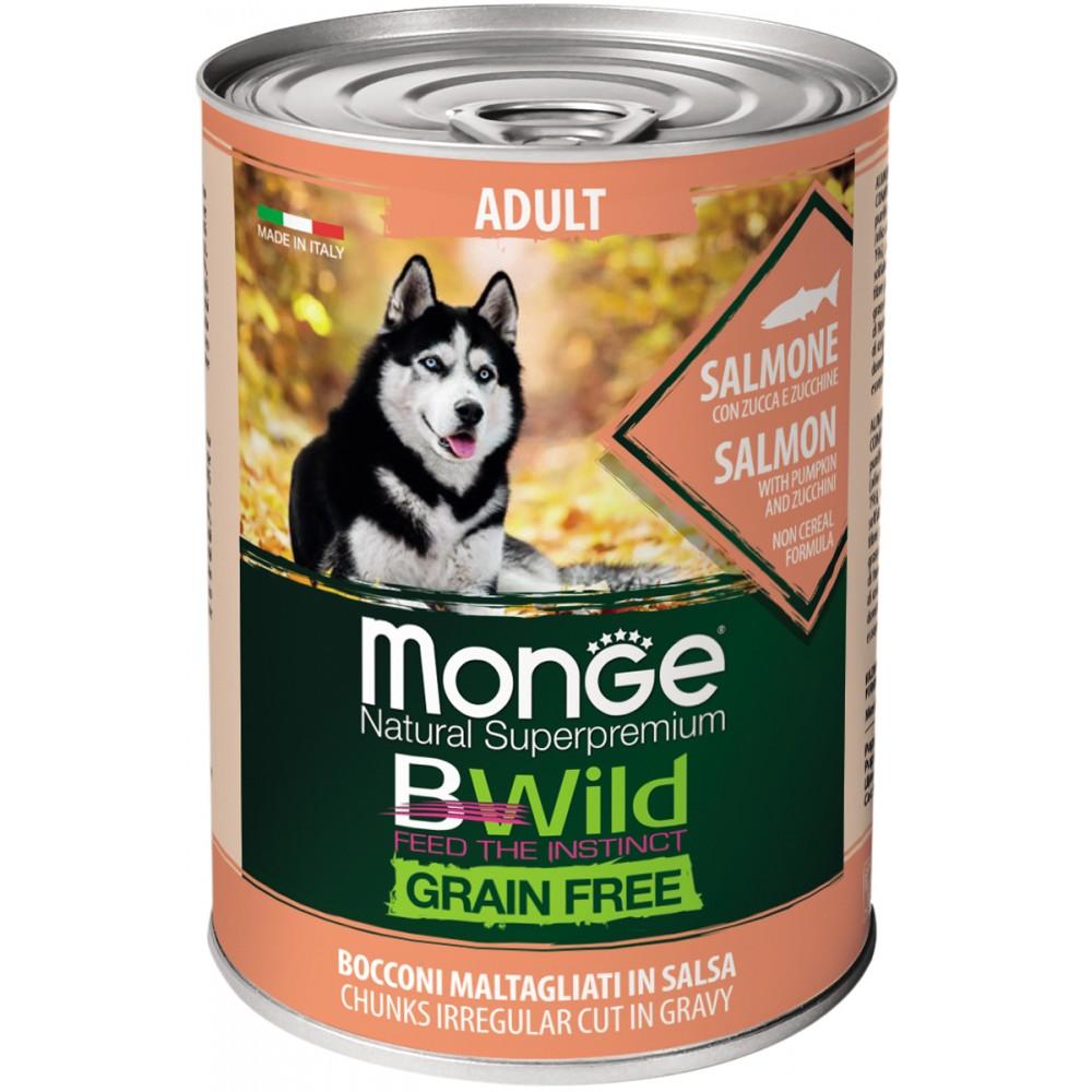Monge Dog BWild GRAIN FREE - Беззерновые консервы из лосося с тыквой и кабачками для взрослых собак всех пород