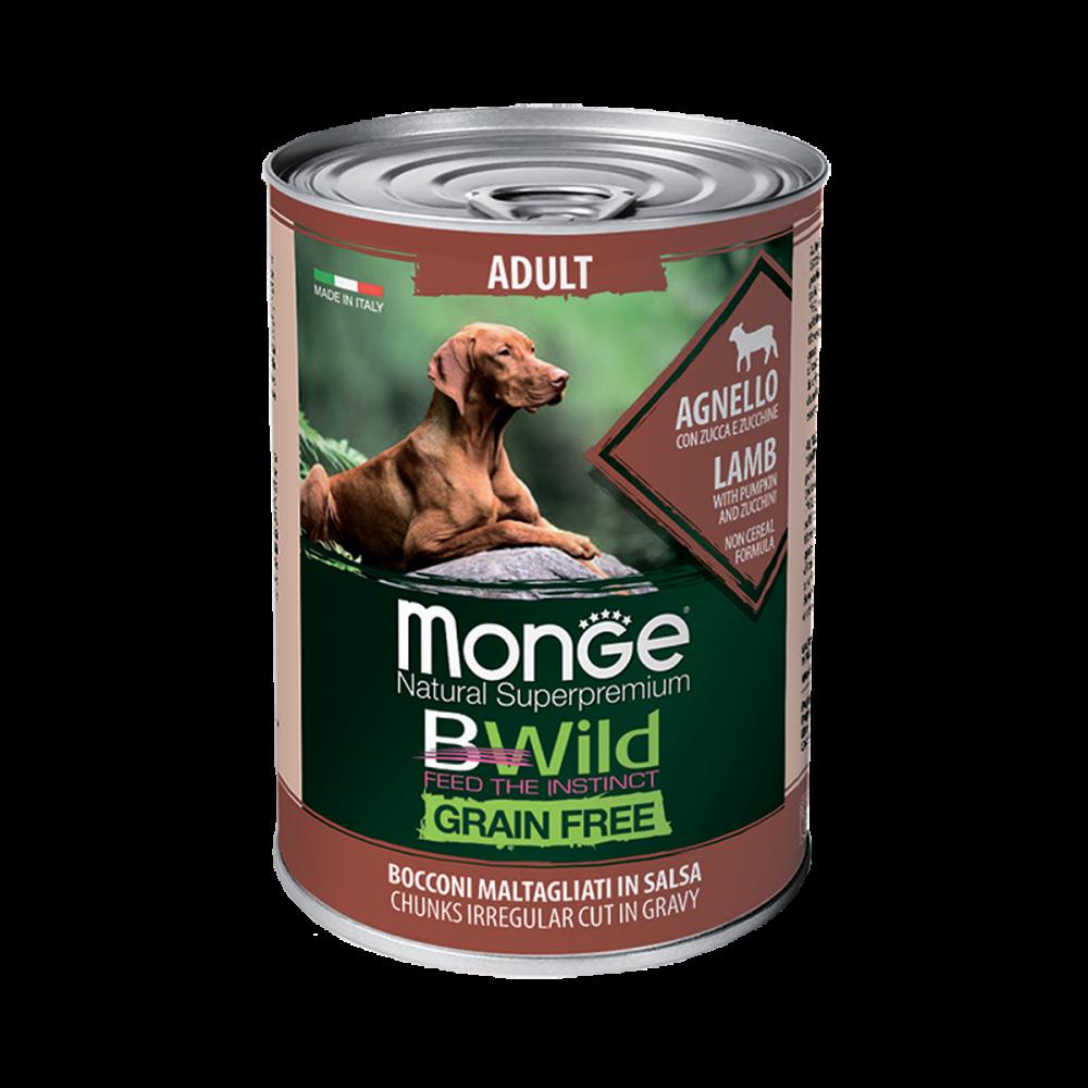 Monge Dog BWild GRAIN FREE - Беззерновые консервы из ягненка с тыквой и кабачками для взрослых собак всех пород
