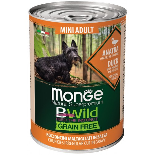 Dog BWild GRAIN FREE Mini - Беззерновые консервы из утки с тыквой и кабачками для взрослых собак мелких пород