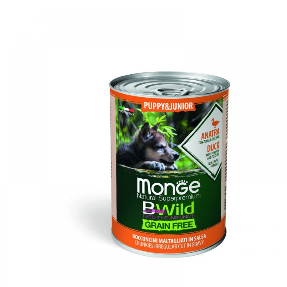 Monge Dog BWild GRAIN FREE Puppy&Junior - Беззерновые консервы из утки с тыквой и кабачками для щенков всех пород