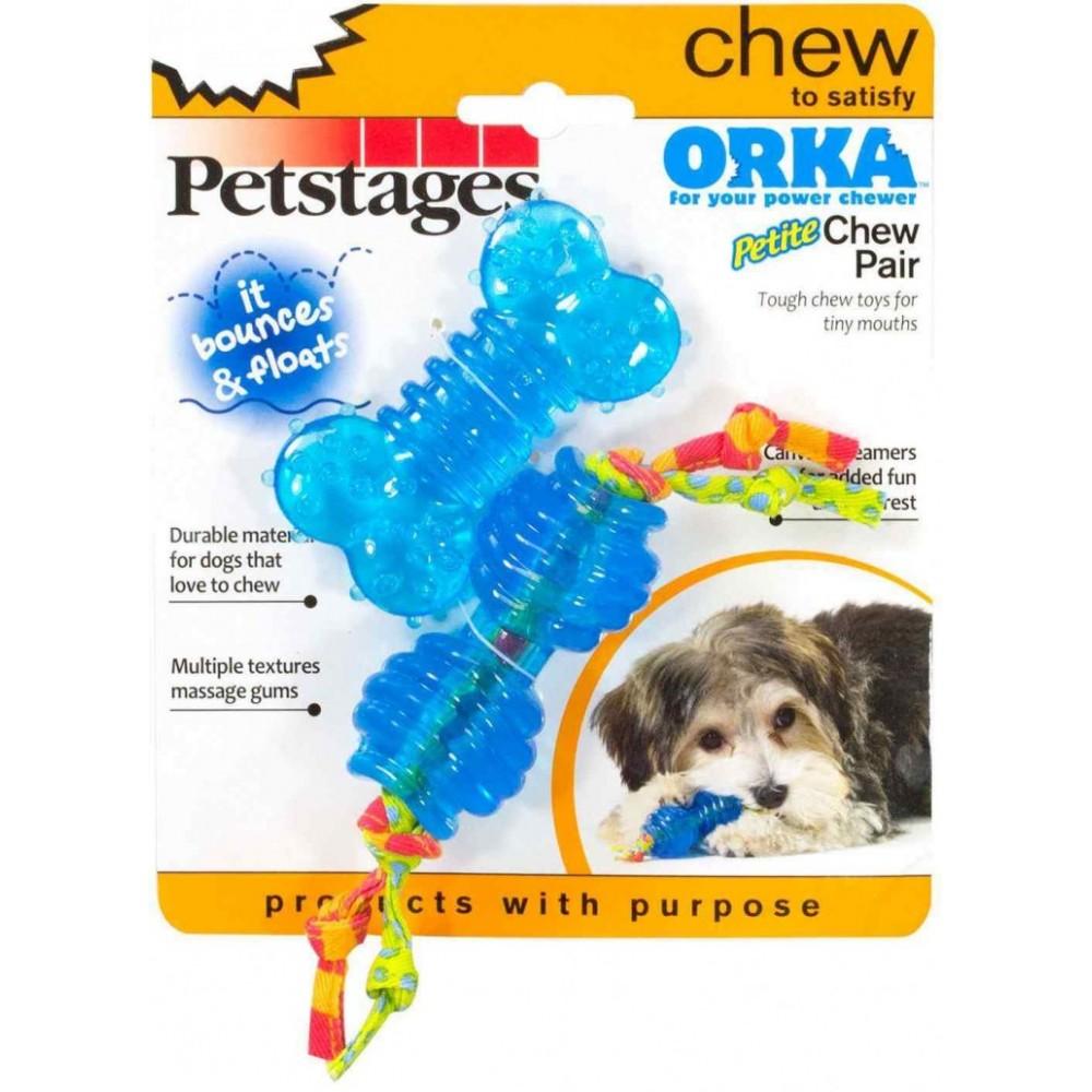 """Petstages Набор из двух игрушек для собак мелких пород """"ОРКА косточка + гантеля"""" ультра-мини"""