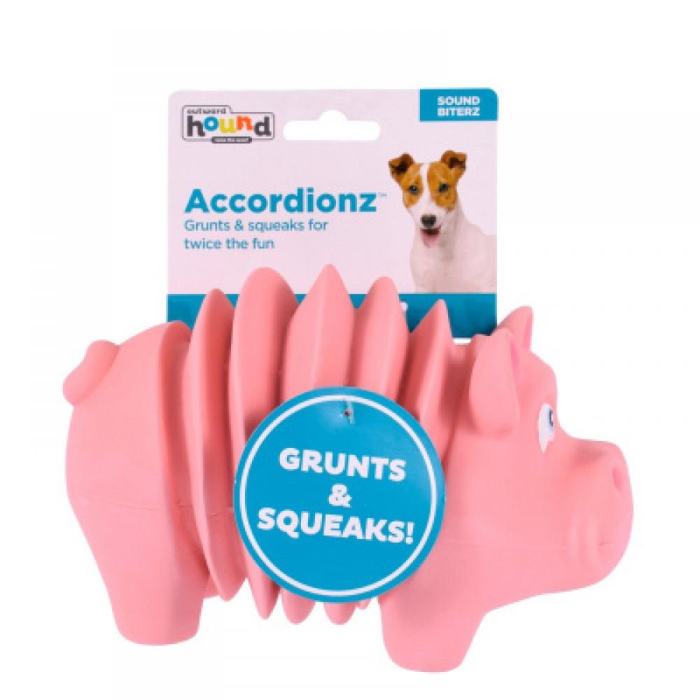 """Petstages OH Accordionz - Игрушка для собак """"Свинка"""" латекс с пищалкой"""