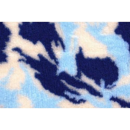 Коврик меховой для кошек и собак камуфляж синий/голубой/белый