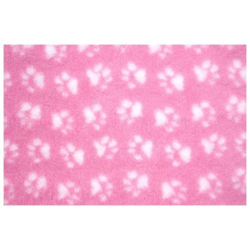 Коврик меховой для кошек и собак розовый/белый