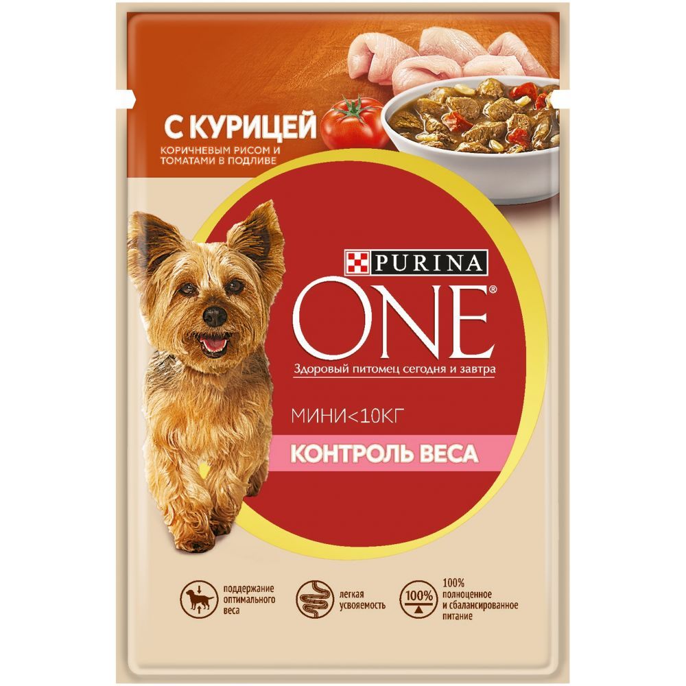 Purina ONE МИНИ Контроль веса - Влажный корм (консервы) Пурина для собак, Курица/Рис/Томаты ПАУЧ