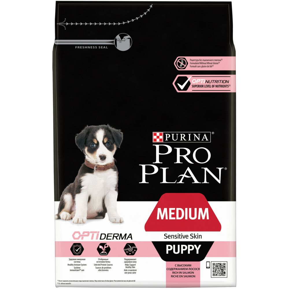 """Purina PRO PLAN OPTIDERMA """"Puppy Medium Sensitive Skin"""" - Сухой корм Пурина для щенков средних пород с чувствительной кожей, Лосось"""