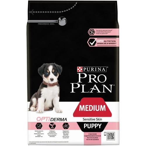 """PRO PLAN OPTIDERMA """"Puppy Medium Sensitive Skin"""" - Сухой корм Пурина для щенков средних пород с чувствительной кожей, Лосось"""
