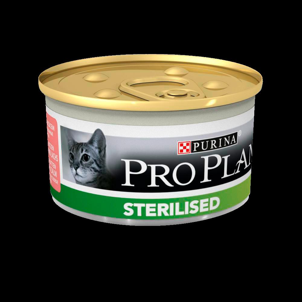 """Purina PRO PLAN """"Sterilised"""" - Влажный корм (консервы) Пурина для кастрированных котов и стерилизованных кошек, Лосось/Тунец ПРОМО НАБОР БАНКА"""