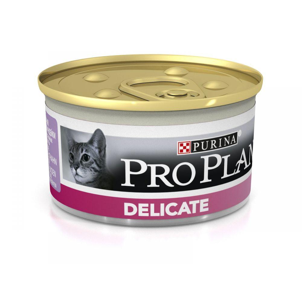"""Purina PRO PLAN """"Delicate"""" - Влажный корм (консервы) Пурина для кошек с чувствительным пищеварением, Индейка БАНКА"""