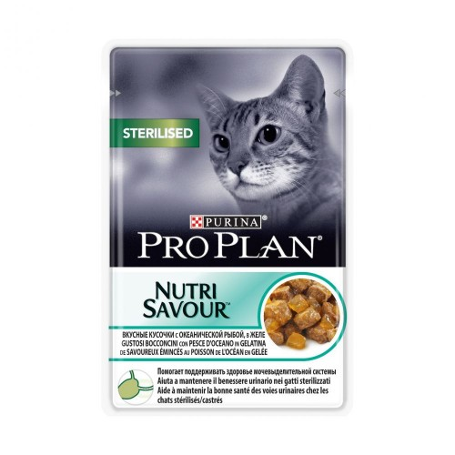 """PRO PLAN Nutrisavour """"Sterilised"""" - Влажный корм (консервы) Пурина для стерилизованных кошек и кастрированных котов, Океаническая Рыба в желе ПАУЧ"""