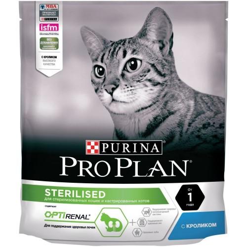 """PRO PLAN OPTIRENAL """"Sterilised"""" - Сухой корм Пурина для кастрированных котов и стерилизованных кошек, Кролик"""