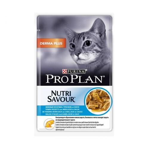 """PRO PLAN """"Derma Plus"""" - Влажный корм (консервы) Пурина для кошек с чувствительной кожей, Треска в соусе ПАУЧ"""