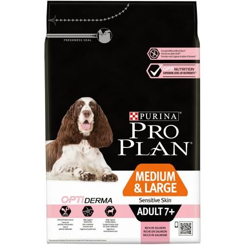 """PRO PLAN OPTIDERMA """"Adult 7+ Medium&Large Sensitive Skin"""" - Сухой корм Пурина для собак старше 7 лет средних и крупных пород с чувствительной кожей, Лосось"""