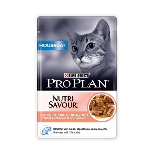 """PRO PLAN Nutrisavour """"Housecat"""" - Влажный корм (консервы) Пурина для домашних кошек, Лосось в соусе ПАУЧ"""