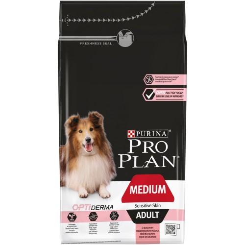 """PRO PLAN OPTIDERMA """"Adult Medium Sensitive Skin"""" - Сухой корм Пурина для собак средних пород с чувствительной кожей, Лосось"""