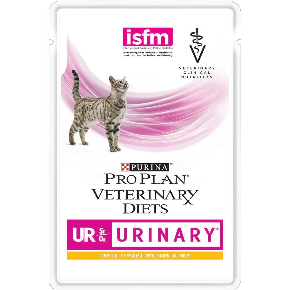 Purina Veterinary Diets (UR) - Диетический влажный корм Пурина для кошек при заболеваниях мочевыделительной системы (МКБ), Курица ПАУЧ