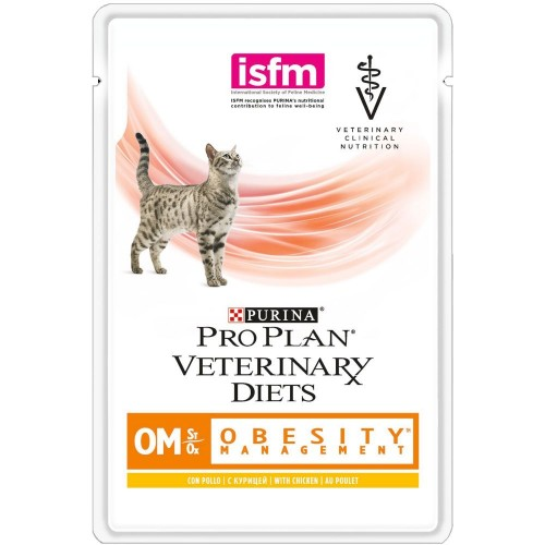Veterinary Diets (OM) - Диетический влажный корм Пурина для кошек при Ожирении, Курица ПАУЧ