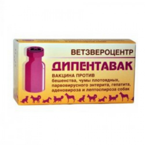 Дипентавак №5 - Вакцина против парвовирусного энтерита, инфекционного гепатита, аденовироза, и лептоспироза собак