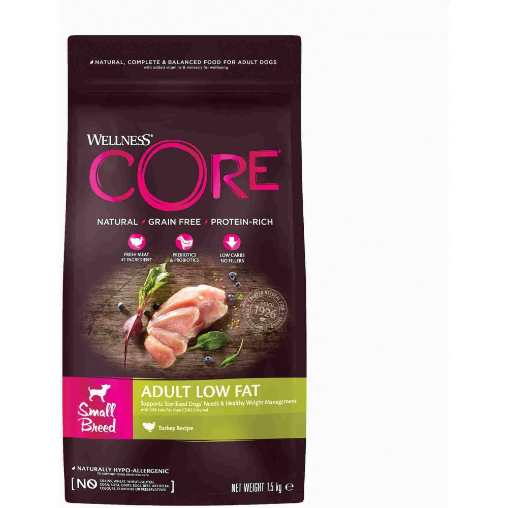 Wellness Core Корм со сниженным содержанием жира из индейки с курицей для взрослых собак мелких пород