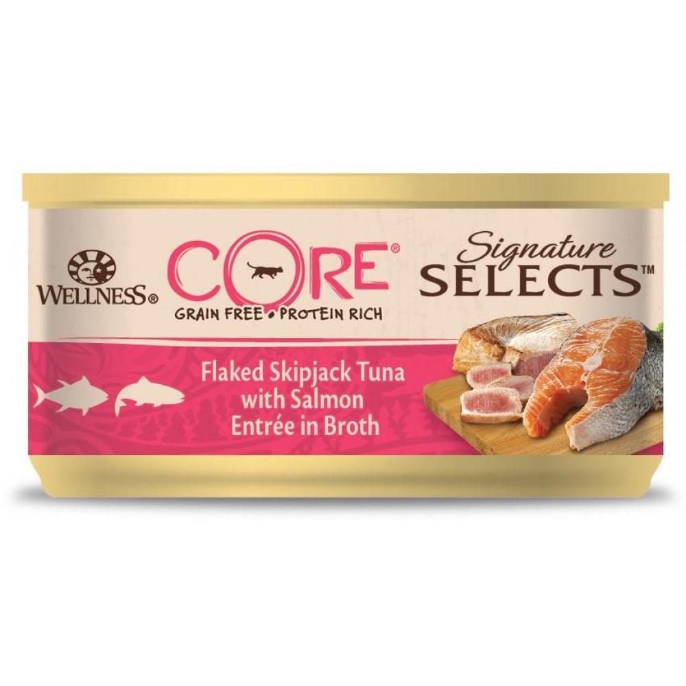 Wellness Core Signature Selects - Консервы из тунца с лососем в виде кусочков в бульоне для кошек
