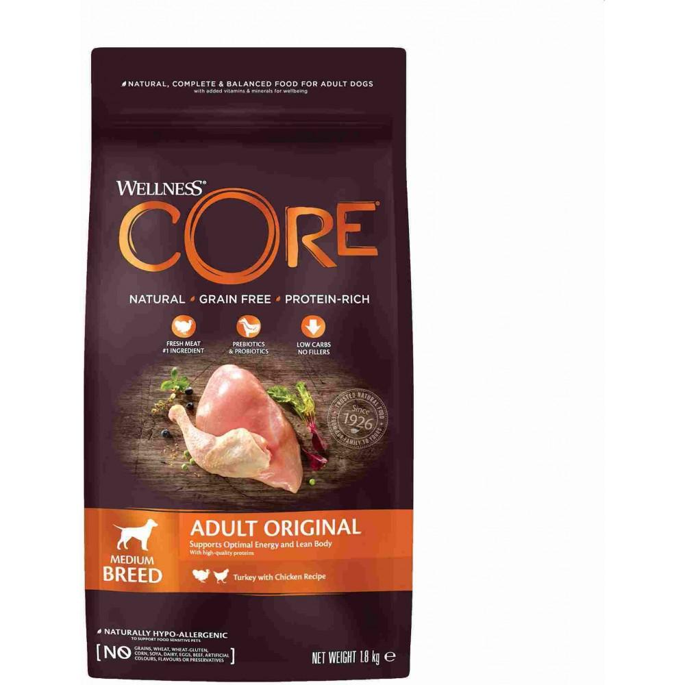 Wellness Core Корм из индейки с курицей для взрослых собак средних пород