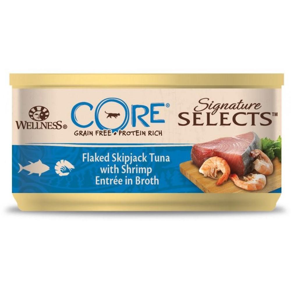 Wellness Core Signature Selects - Консервы из тунца с креветками в виде кусочков в бульоне для кошек