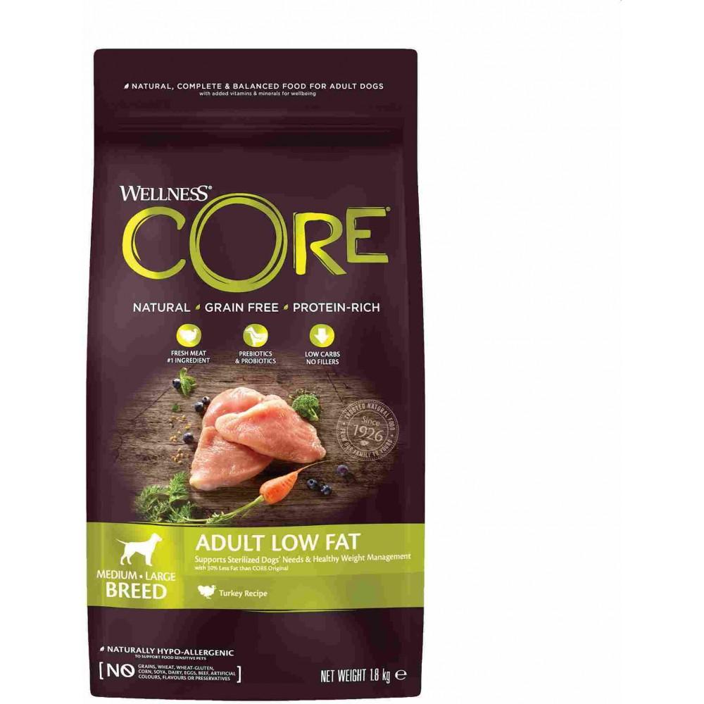 Wellness Core Корм со сниженным содержанием жира из индейки с курицей для взрослых собак средних и крупных пород