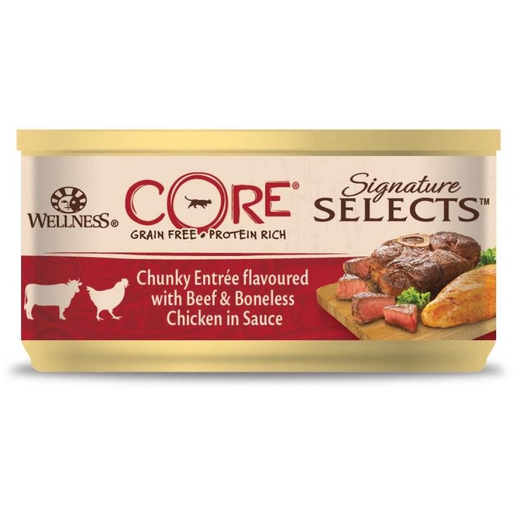 Wellness Core Signature Selects - Консервы из говядины с курицей в виде кусочков в соусе для кошек