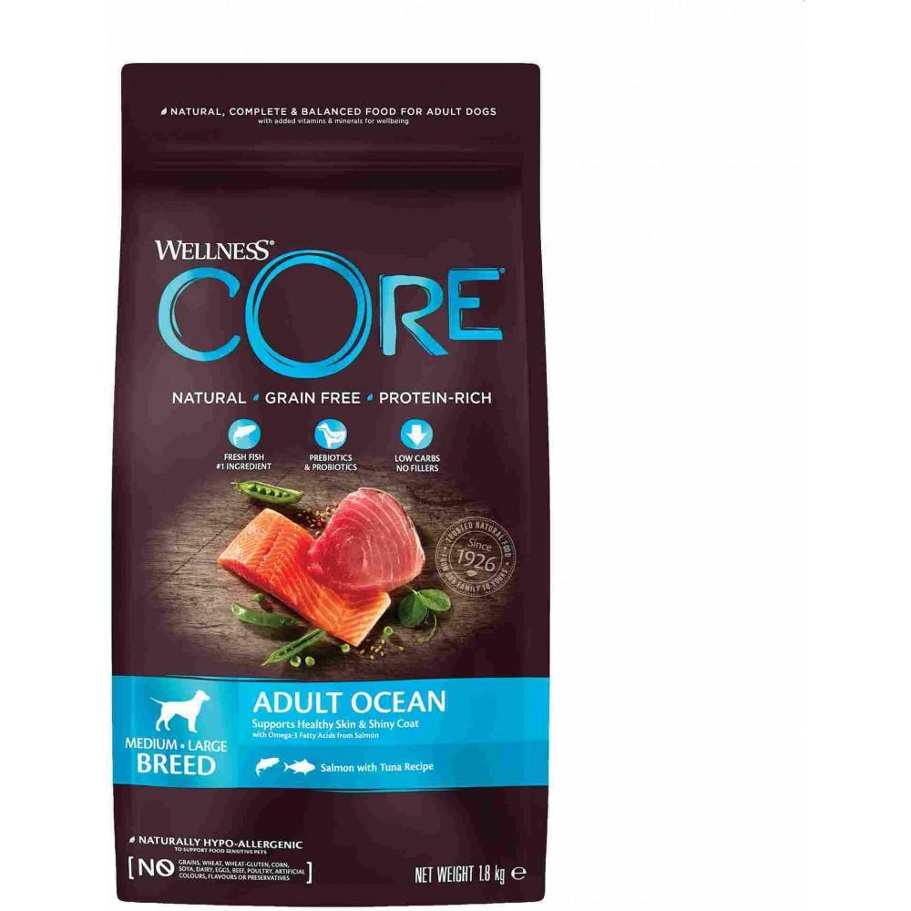 Wellness Core Корм из лосося с тунцом для взрослых собак средних и крупных пород
