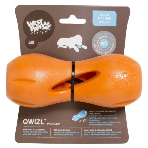 Qwizl - Игрушка для собак гантеля под лакомства оранжевая